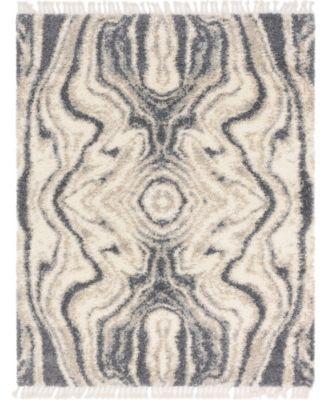 Lochcort Shag Loc4 Gray 5' x 5' Round Area Rug