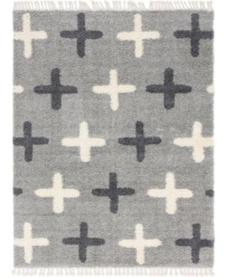 Lochcort Shag Loc7 Light Gray 4' x 6' Area Rug