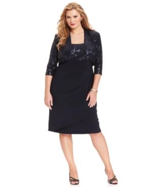 Alex Evenings Plus Size Dress and Jacket, Sleeveless Sequin Ruffled