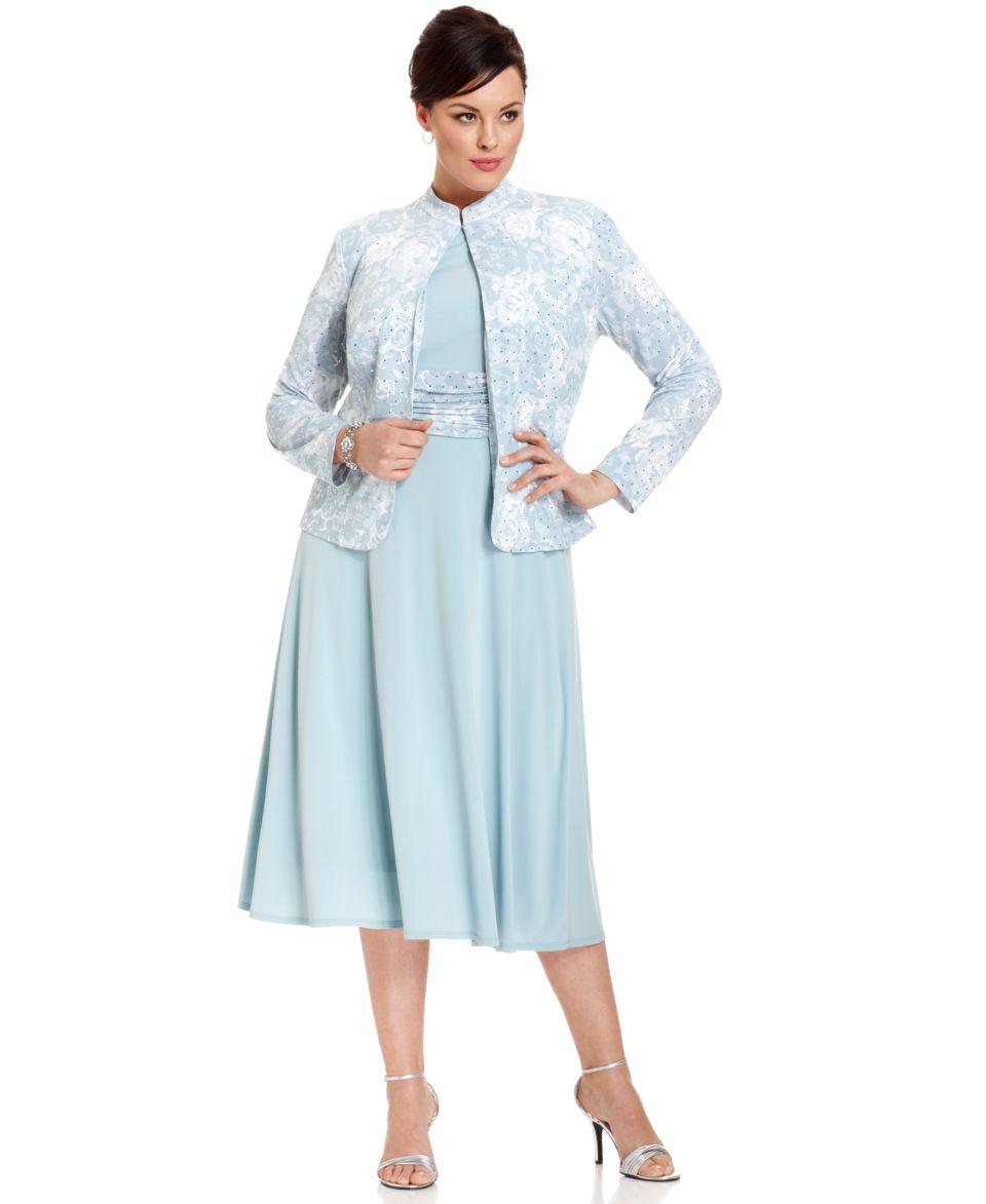 Jessica Howard Plus Size Dress and Jacket, Sleeveless Printed Pleated   Dresses   Plus Sizes