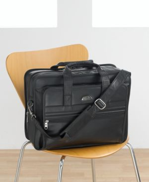 Samsonite® Expandable Double Gusset Leather Portfolio / Computer Case - Handbags