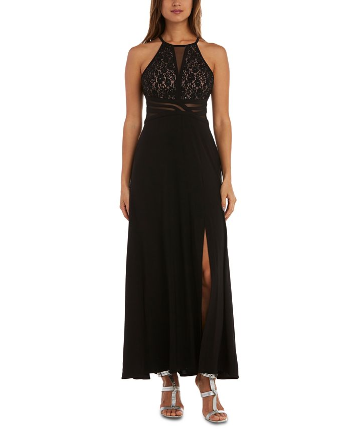 Morgan & Company - Juniors' Sequined Lace Halter Gown