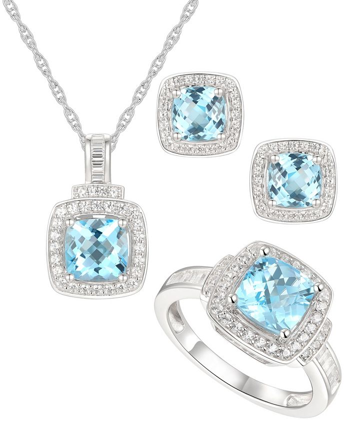 Macy's - 3-Pc. Set Blue Topaz (4-1/2 ct. t.w.) & White Topaz (1 ct. t.w.) Pendant Necklace, Ring & Stud Earrings in Sterling Silver
