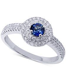 Sapphire (1/3 ct. t.w.) & Diamond (1/4 ct. t.w.) Ring in 14k White Gold