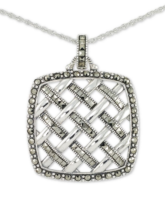 """Macy's - Marcasite Square Weave 18"""" Pendant Necklace in Sterling Silver"""