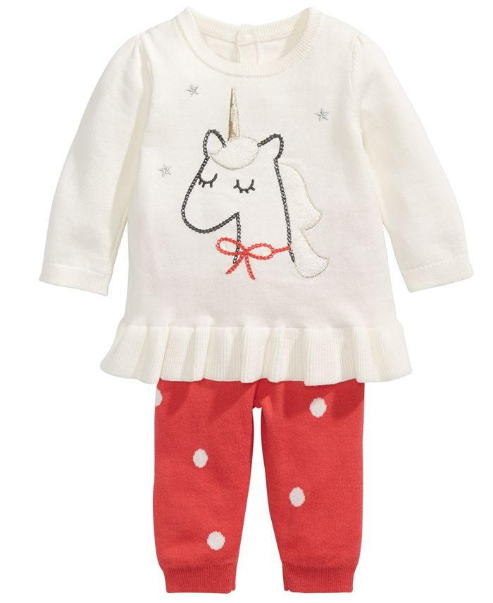 First Impressions - Baby Girls 2-Pc. Cotton Unicorn Tunic Sweater & Leggings Set, Created For Macy's