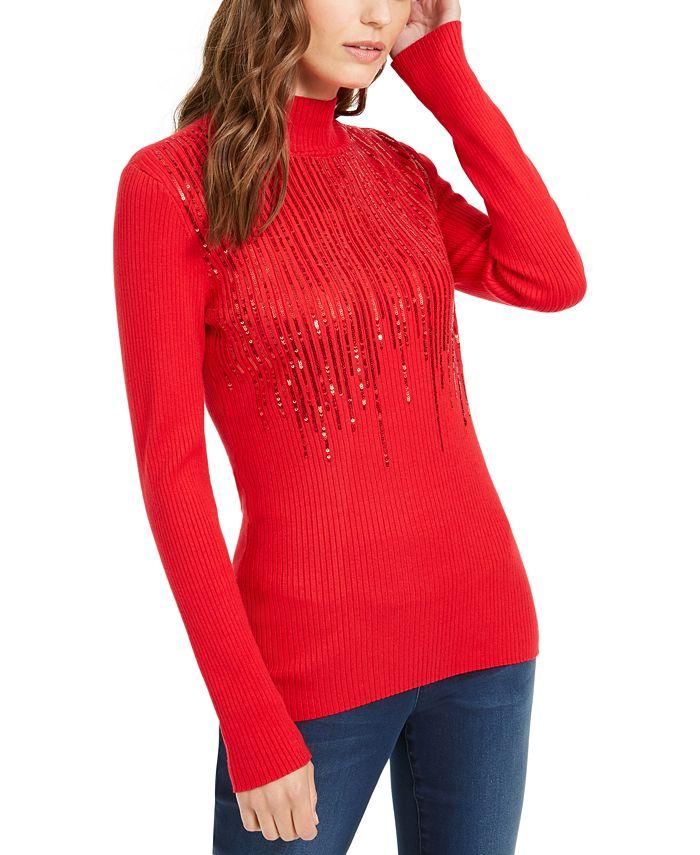 INC International Concepts - Mock-Neck Drip Sequin Sweater