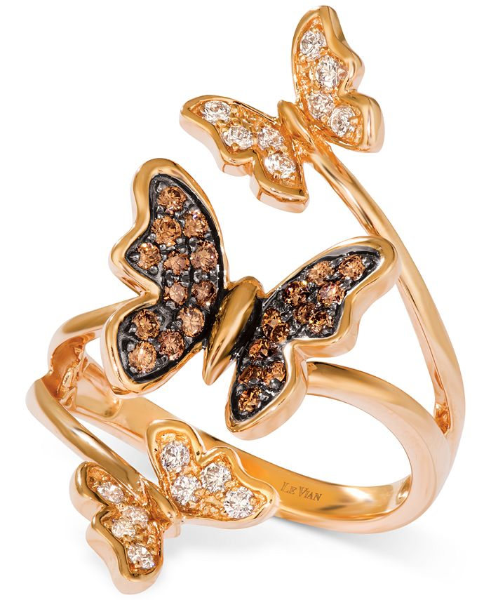 Le Vian - Diamond Butterfly Statement Ring (1/2 ct. t.w.) in 14k Rose Gold
