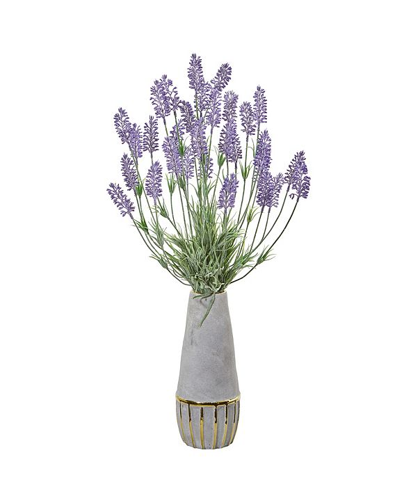 "Nearly Natural 25"" Lavender Artificial Plant in Vase with Gold Trimming"
