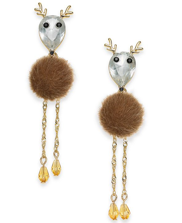 INC International Concepts INC Gold-Tone Crystal & Faux-Fur Reindeer Linear Drop Earrings, Created for Macy's