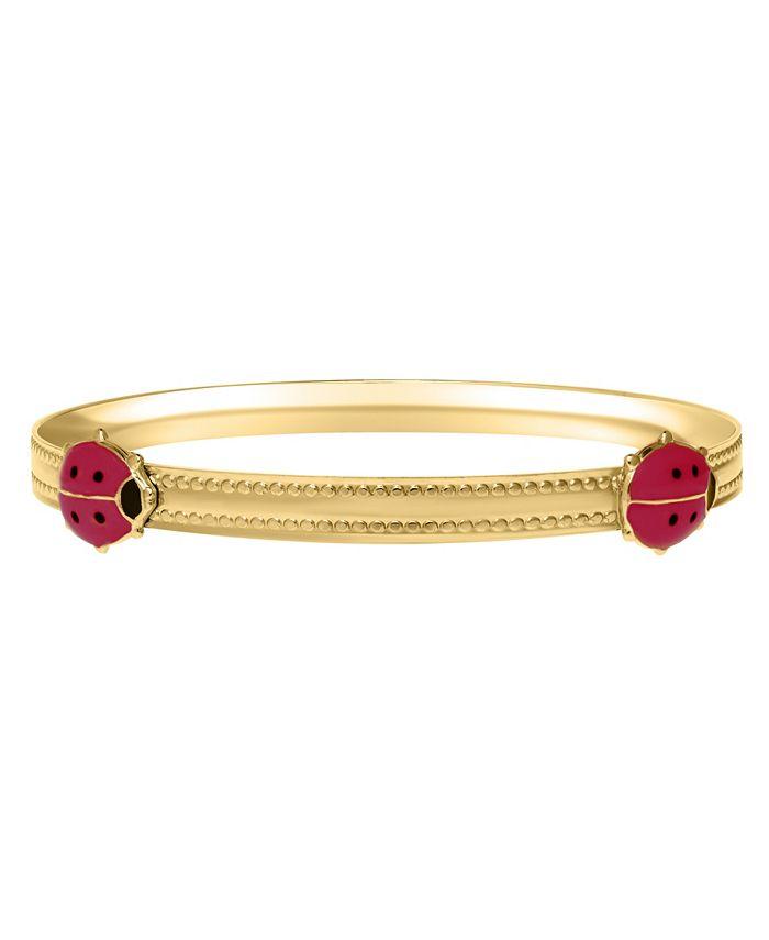 Macy's - Children's 14K Pink Ladybug Bracelet in 14k Yellow Gold over Brass Alloy