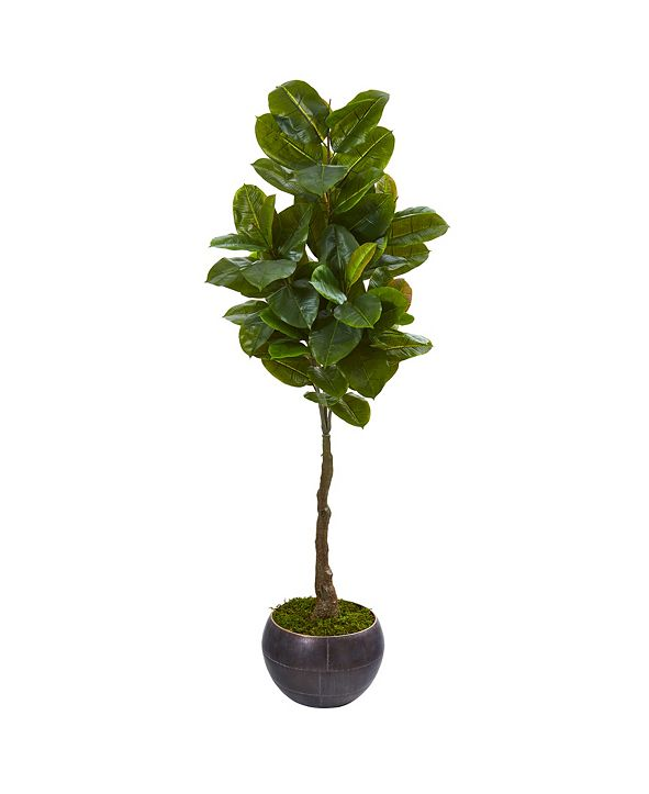 """Nearly Natural 64"""" Rubber Leaf Artificial Tree in Metal Planter Real Touch"""