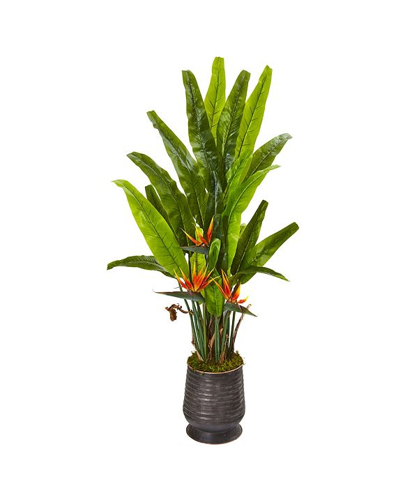 "Nearly Natural 62"" Bird Of Paradise Artificial Plant in Decorative Planter"