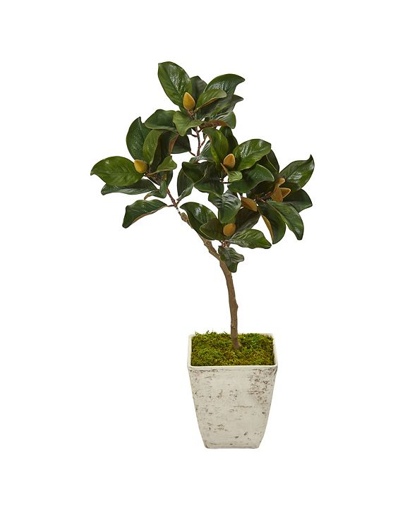 """Nearly Natural 42"""" Magnolia Leaf Artificial Tree in Country White Planter"""