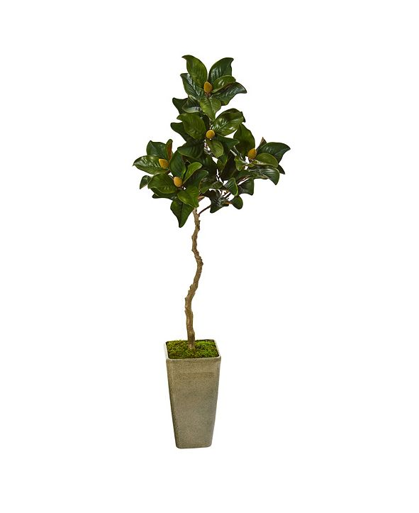 """Nearly Natural 63"""" Magnolia Artificial Tree in Green Planter"""