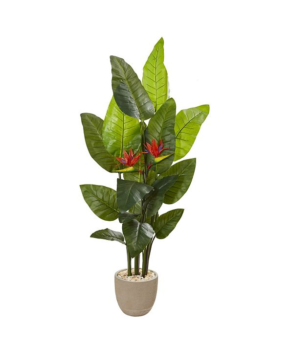 """Nearly Natural 69"""" Bird Of Paradise Artificial Plant in Sandstone Planter Real Touch"""