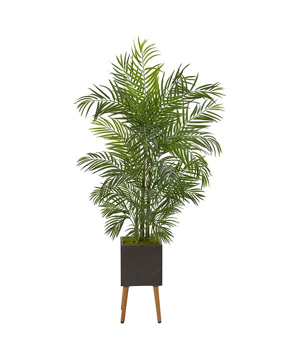 Nearly Natural 6' Areca Artificial Palm Tree in Black Planter with Stand UV Resistant Indoor/Outdoor