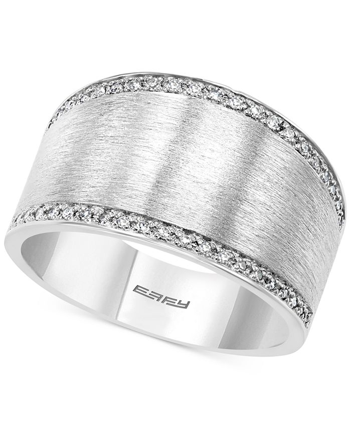 EFFY Collection - Diamond Satin Finish Statement Ring (1/8 ct. t.w.) in Sterling Silver