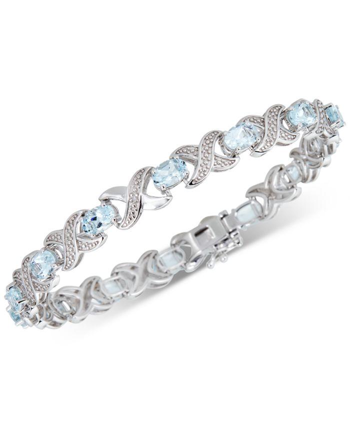 Macy's Aquamarine (4 ct. t.w.) & Diamond (1/20 ct. t.w.) Link Bracelet in Sterling Silver & Reviews - Bracelets - Jewelry & Watches - Macy's