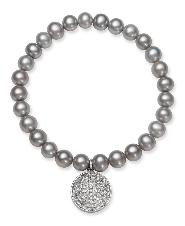Macy's - Gray Cultured Freshwater Pearl (7-8 mm) and Cubic Zirconia Stretch Bracelet with Charm in Sterling Silver