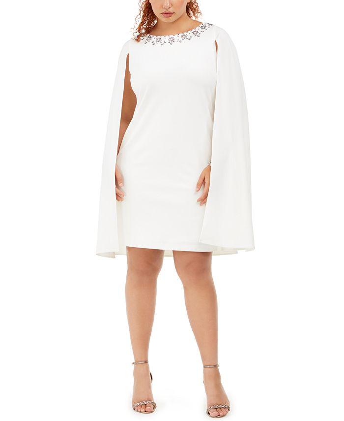 Adrianna Papell - Plus Size Rhinestone-Embellished Cape Dress