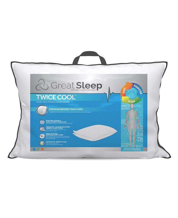 Great Sleep - Twice Cool Premium Memory Foam Core Pillows