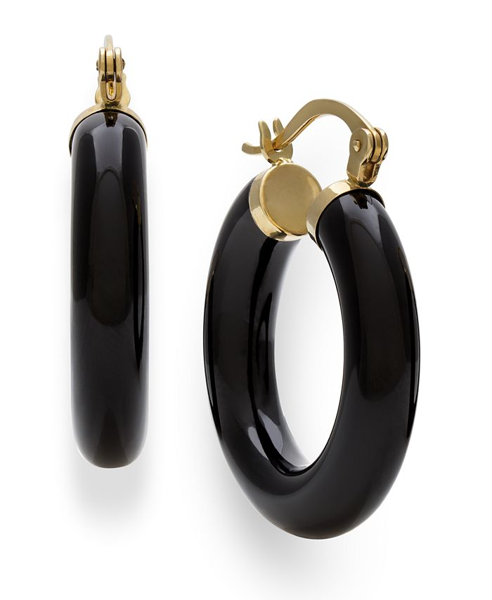 Macy's - Black Onyx (25 mm)  Hoop Earrings in 14k Yellow Gold