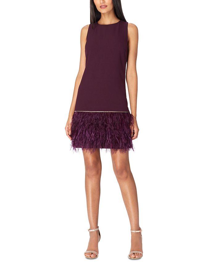Tahari ASL - Crepe Faux-Feather Dress