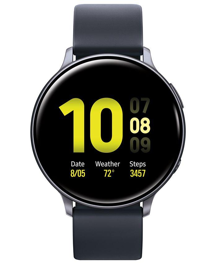 Samsung - Unisex Galaxy Active 2 Black Silicone Strap Touchscreen Smart Watch 44mm