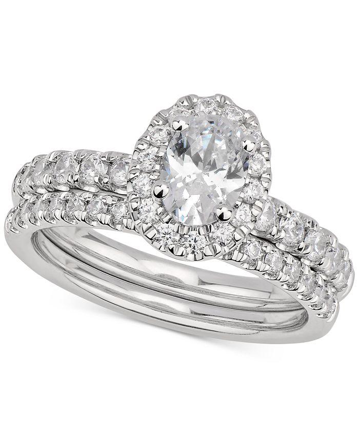 GIA Certified Diamonds - Certified Oval Diamond Bridal Set (1-1/2 ct. t.w.) in 14k White Gold