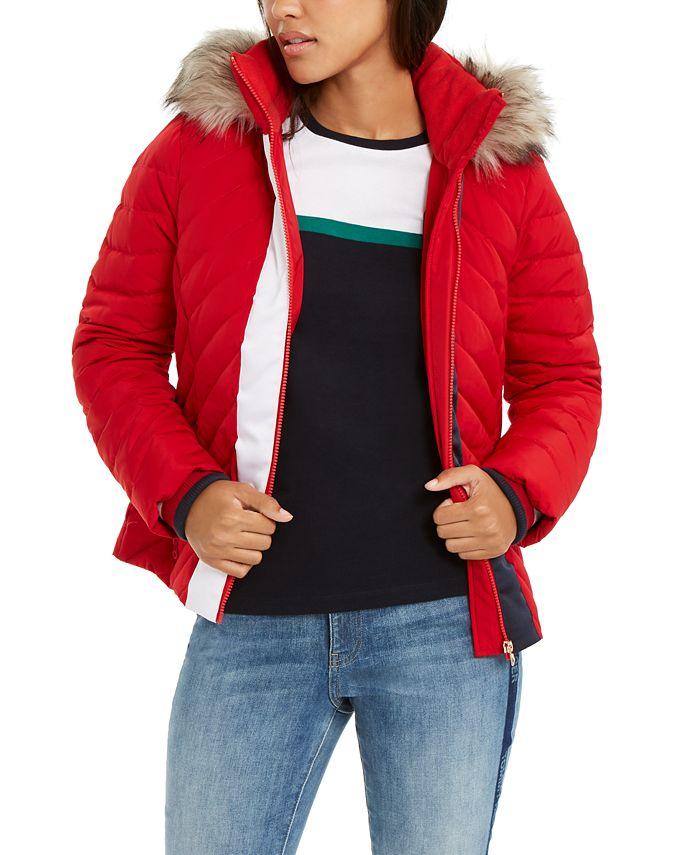 Tommy Hilfiger - Faux-Fur-Trim Hooded Puffer Jacket