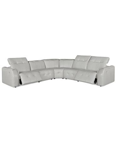 Novara Leather Reclining Sofa 5 Piece Power Recliner