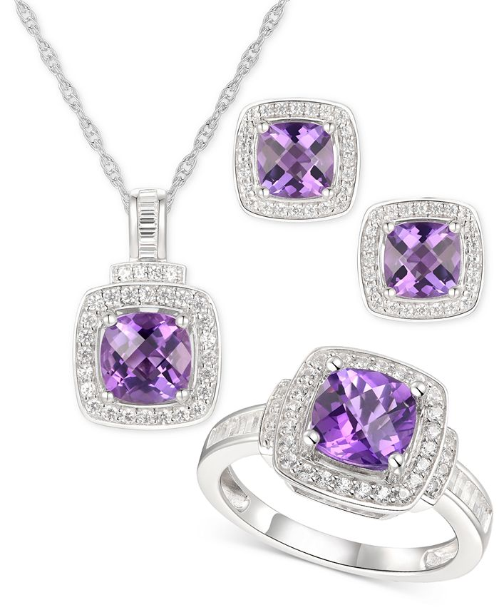 Macy's - 3-Pc. Set Amethyst (3-5/8 ct. t.w.) & White Topaz (1 ct. t.w.) Ring, Pendant Necklace & Stud Earrings in Sterling Silver