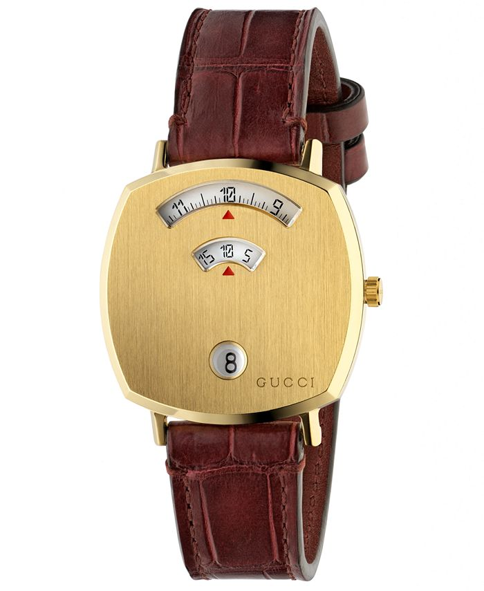 Gucci - Unisex Grip Bordeaux Alligator Leather Strap Watch 38mm