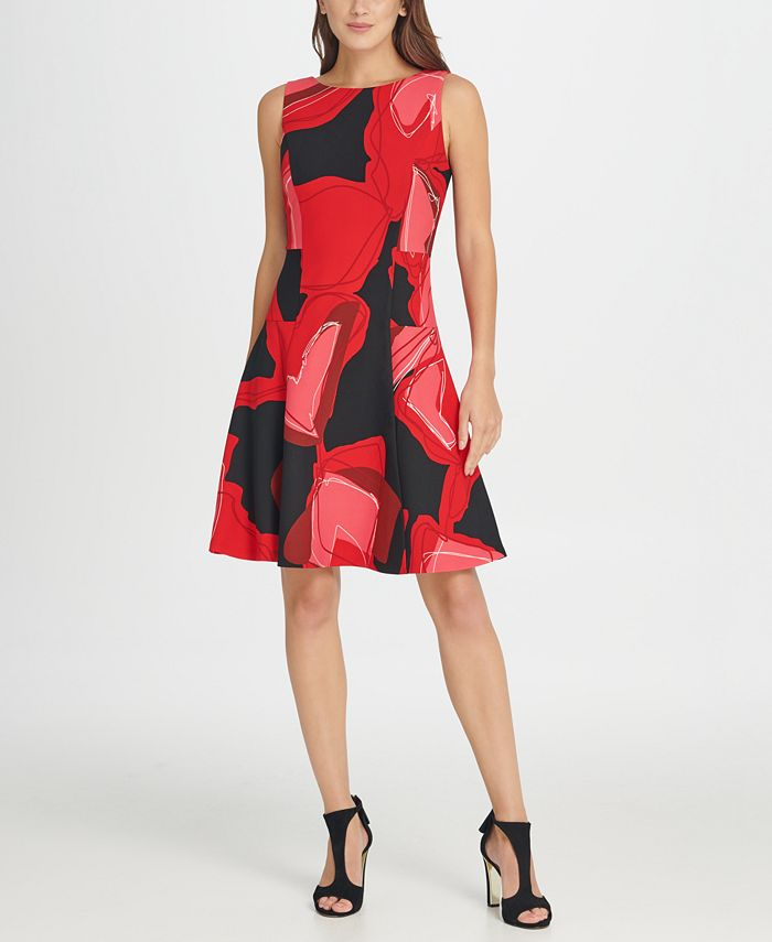 DKNY - Abstract Floral Fit & Flare Dress