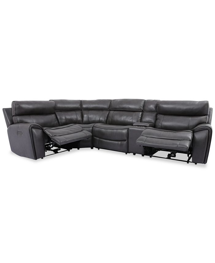 Furniture - Hutchenson 5-Pc. Leather Sectional with 2 Power Recliners, Power Headrests and Console