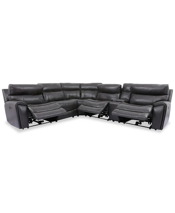 Furniture - Hutchenson 6-Pc. Leather Sectional with 3 Power Recliners, Power Headrests and Console with USB
