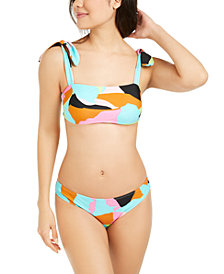 Hula Honey Juniors' Floral Camo Printed Bralette Bikini Top & Hipster Bottoms, Created for Macy's