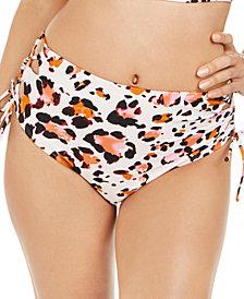 Hula Honey Juniors' Wild About You Printed High-Waist Bikini Bottoms, Created for Macy's