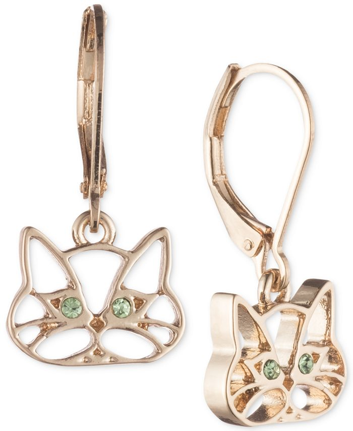 Pet Friends Jewelry - Gold-Tone Green Crystal Cat Drop Earrings