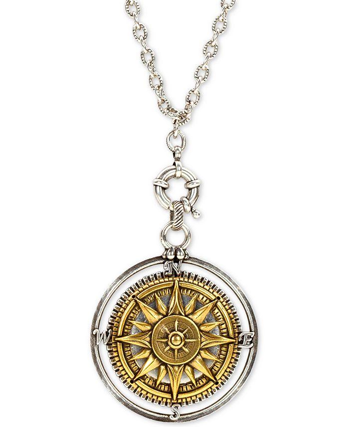 "Patricia Nash - Two-Tone Compass 30"" Long Pendant Necklace"