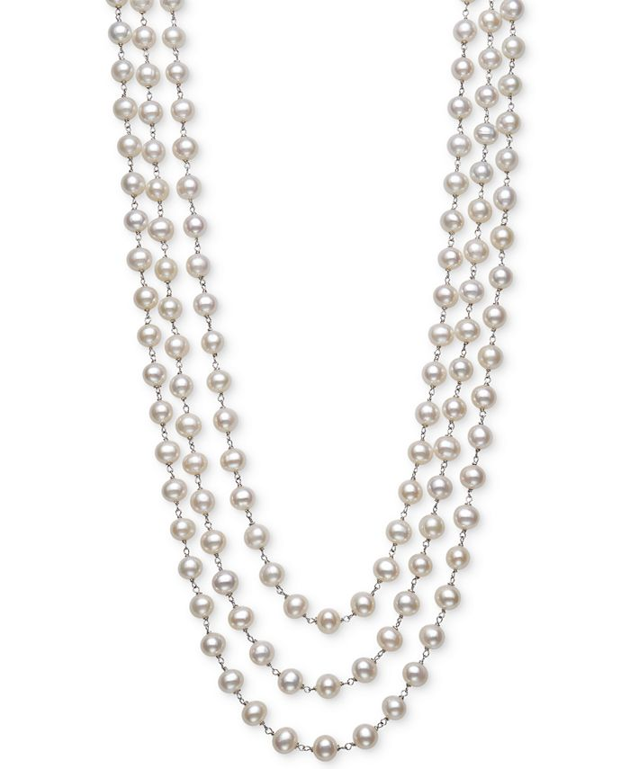 "Belle de Mer - Cultured Freshwater Pearl (7mm) Triple Strand 18"" Statement Necklace in Sterling Silver"