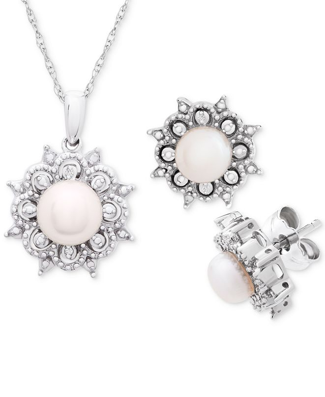 "Macy's Cultured Freshwater Pearl (5-6mm) & Diamond Accent 18"" Pendant Necklace and Stud Earrings Set in Sterling Silver"