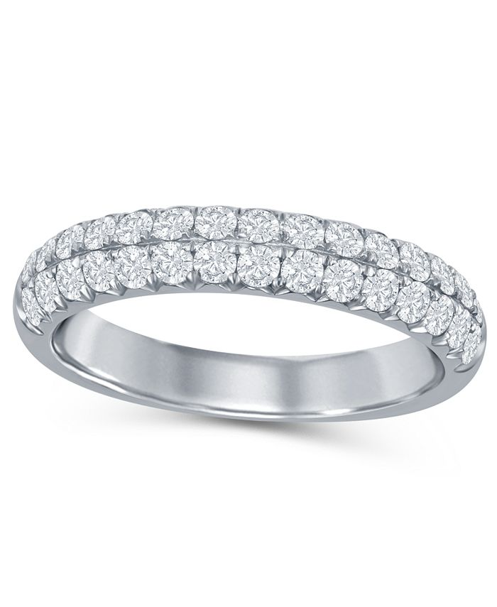 Macy's - Diamond (5/8 ct. t.w.) French Pave Two Row Band in 14K White Gold