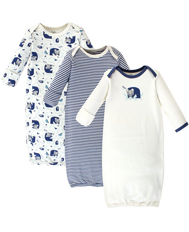 Touched by Nature Baby Boy and Girl Organic Cotton Gown, 3 Pack