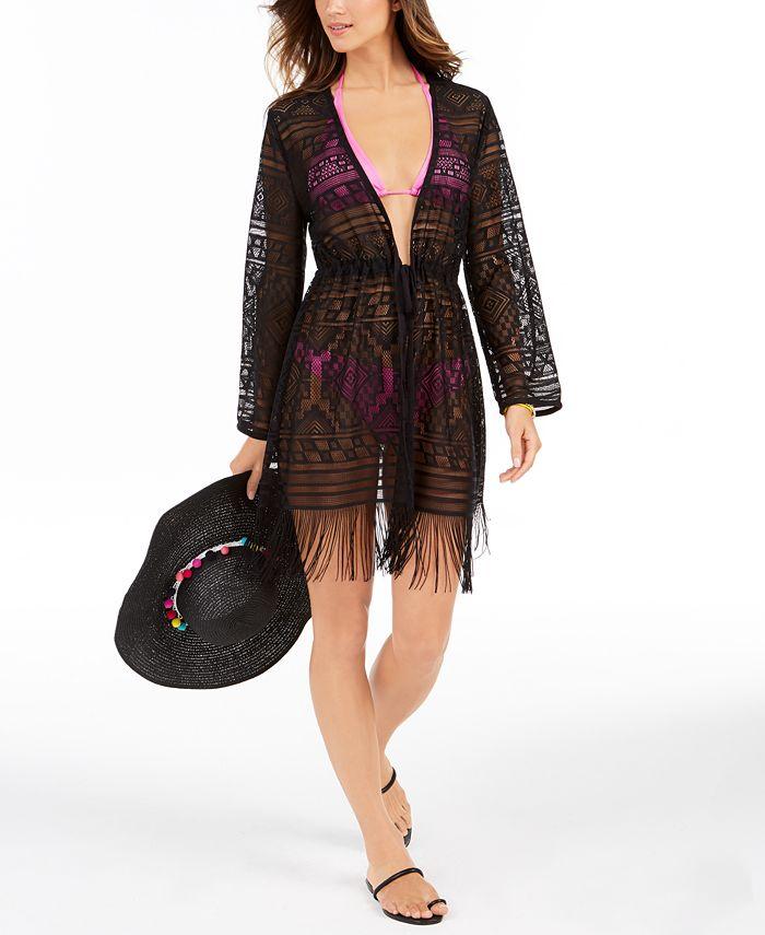 Dotti - Bemus Fringed Crochet Kimono Cover-Up