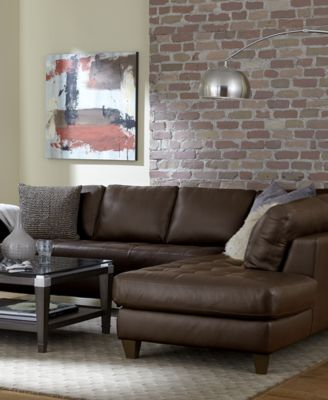 Milano Leather 2 Piece Chaise Sectional Sofa Furniture