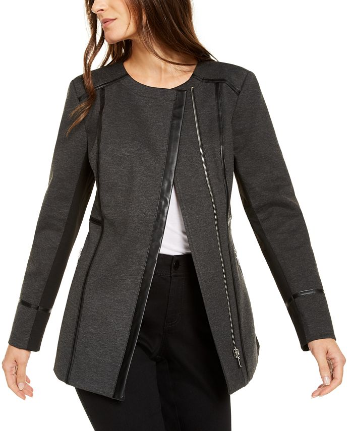 INC International Concepts - Faux-Leather-Trim Moto Jacket