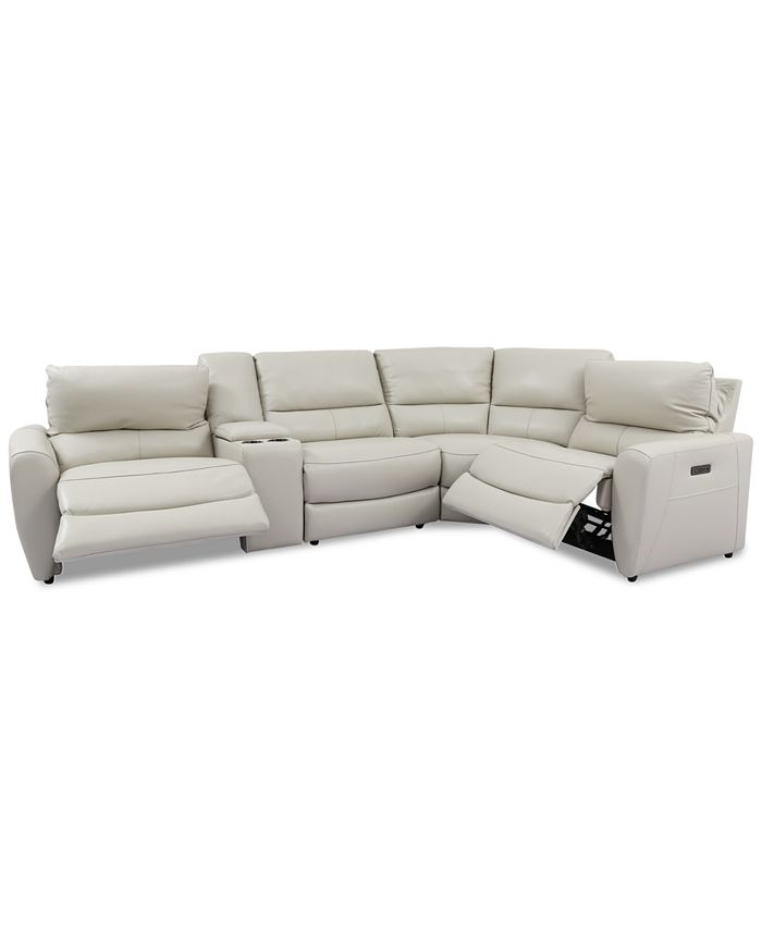 Furniture - Danvors 5-Pc. Leather Sectional Sofa with 2 Power Recliners, Power Headrests, and Console