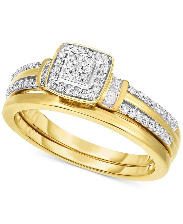 Promised Love - Diamond Square Cluster Engagement Ring (1/4 ct. t.w.) in 14k Gold-Plated Sterling Silver or Sterling Silver